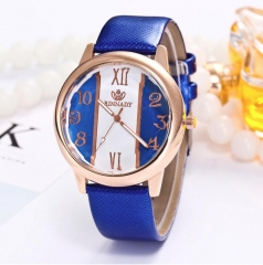 Leisure watch women's style colored edge with white leather band watch face quartz watch blue