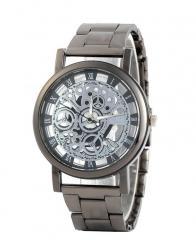 Steel band watch hollow imitation mechanical watch gun black quartz watch black