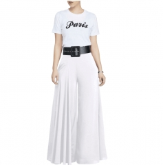 European and American fashion women's clothing multicolor fold wide-legged pants white s