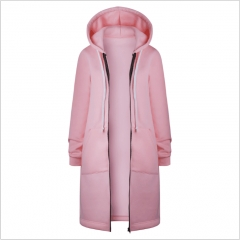 Thickening of the long hooded fleece jacket pink S