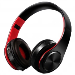 Wireless Bluetooth Stereo Headset Foldable Headphone Earphone for iPhone Android Red+Black