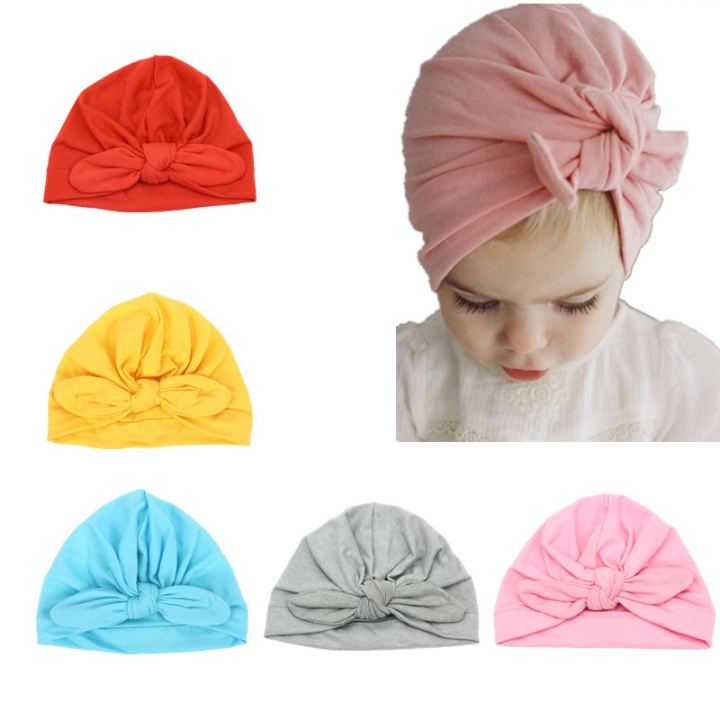 5 pcs Baby Girl Hats Inlay Knotted Rabbit Ear Style Turban Headband 1-5 Years Color A one size