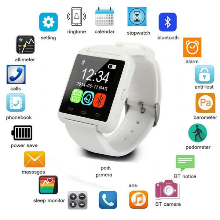 Newest Smart Watches U8 Sport Pedometer Handsfree Bluetooth Smartwatch Wristband for Android Phone white