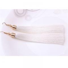 Long Tassel Earrings Women Jewelry Geometric Alloy Plating Simple Dangle Drop Earrings white 14.3cm