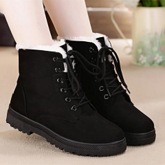 Snow boots 2018 classic heels suede women winter boots warm fur plush Insole ankle boots women shoes black 34
