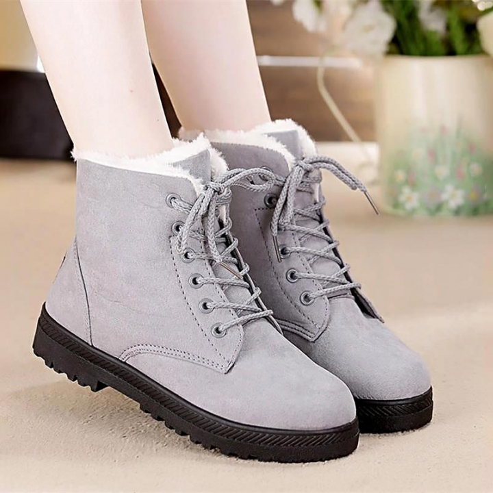 fbfcc686938 Snow boots 2018 classic heels suede women winter boots warm fur plush  Insole ankle boots women shoes grey 44