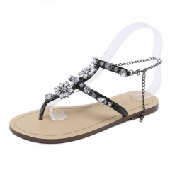 Woman Sandals Women Shoes Rhinestones Chains Thong Gladiator Flat Sandals Crystal Chaussure Plus black 34