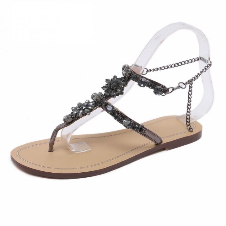 f53380b2d19729 Woman Sandals Women Shoes Rhinestones Chains Thong Gladiator Flat Sandals  Crystal Chaussure Plus gun 41