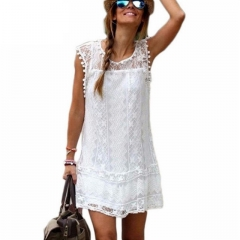 Summer Dress Women Casual Beach Short Dress Tassel Black White Mini Lace Dress Sexy Party Dresses white s