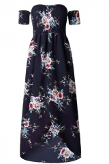 Boho style long dress women Off shoulder beach summer dresses Floral print Vintage chiffon dress black s