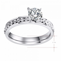 Titanium Stainless Steel Rings For Women Circle CZ Fashion Jewelry Wholesale NO.R174 silver 9mm