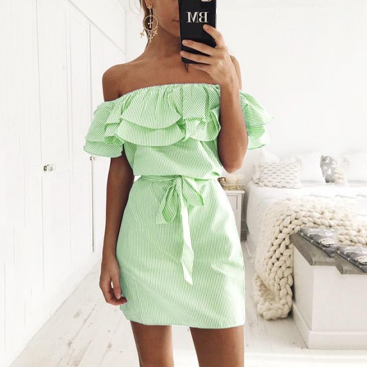 650454f93b37 Off Shoulder Strapless Dress Women Summer Sundresses Beach Casual Shirt  Short Mini Party Dresses green s