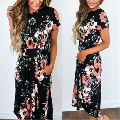 Summer Long Dress Floral Print Boho Beach Dress Tunic Maxi Dress Women Evening Party Dress Sundress black s