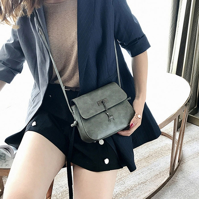 Women Messenger Bags High Quality Cross Body Bag PU Leather Mini Female Shoulder Bag Handbags gray 20×15×7