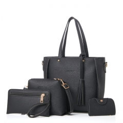 Women Bag Set Top-Handle Big Capacity Female Tassel Handbag Fashion Shoulder Bag Purse Ladies black 1