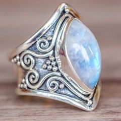 Vintage Silver Big Stone Ring for Women Fashion Bohemian Boho Jewelry 2018 New Hot Silver 5