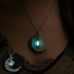 New Hot Moon Glowing Necklace, Gem Charm Jewelry,Silver Plated,Halloween Gifts Green 15mm