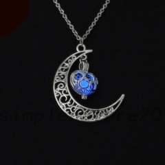 New Hot Moon Glowing Necklace, Gem Charm Jewelry,Silver Plated,Halloween Gifts Blue 15mm