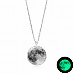 Glow In The Dark Moon Necklace 14mm Galaxy Planet Glass Cabochon Pendant Necklace Silver Chain green 15mm