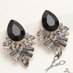 Newest Fashion Jewelry Style Earrings Handmade Rhinestone sweet stud crystal Dangle earrings Black 20mm