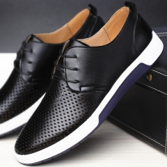 2018 Men Casual Shoes Leather Summer Breathable Holes Luxury Brand Flat Shoes for Men Drop Shipping black 37
