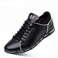 Men Casual Shoes Fashion Leather Shoes for Men Summer Men's Flat Shoes Dropshipping black 38