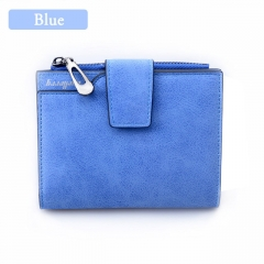 Women Vintage Fashion Top Quality Small Wallet Leather Purse Female Money Bag Small Zipper Pocket blue One size