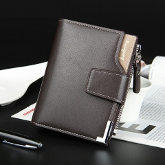 brand Short men Wallets PU Leather male Purse Card Holder Fashion man Zipper Wallet men Coin bag coffee One size