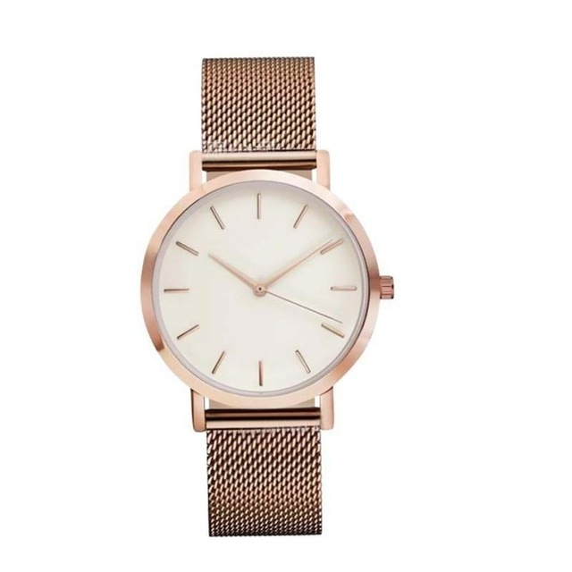 Fashion Women Crystal Stainless Steel Analog Quartz Wrist Watch Bracelet DEC19 rose gold