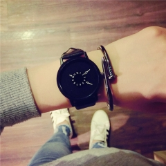 Hot fashion creative watches women men quartz-watch 2017watch leather wristwatches clock black