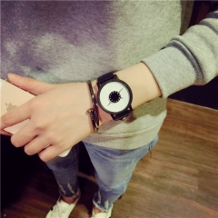 Hot fashion creative watches women men quartz-watch 2017watch leather wristwatches clock black leather white