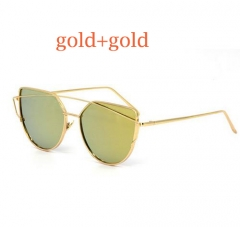 Cat Eye vintage Brand designer gold mirror Sunglasses For Women Metal Reflective flat lens Glasses 1 6627