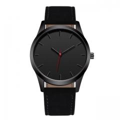 Fashion Large Dial Military Quartz Men Watch Leather Sport watches High Quality Clock Wristwatch black