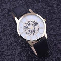 Watches Men Golden hollow watch, Luxury Casual steel Business Imitate Mechanical Watch Male clock black
