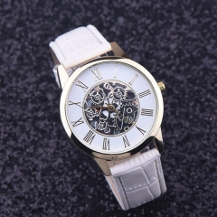 Watches Men Golden hollow watch, Luxury Casual steel Business Imitate Mechanical Watch Male clock white