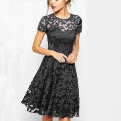 Fashion Women Elegant Sweet Hallow Out Lace Dress Sexy Party Princess Slim Summer Dresses s black black s
