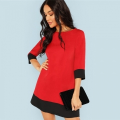 Trim Tunic Dress Workwear Colorblock 3/4 Sleeve Short Dresses Women Autumn Elegant Straight s red s