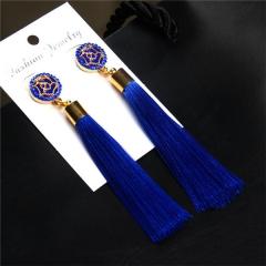 Crystal Tassel Earrings Black White Blue Red Pink Silk Fabric Long Drop Dangle Tassel Earrings blue one size