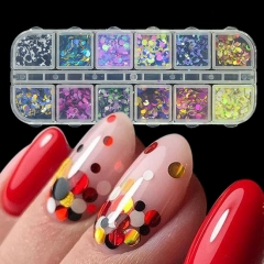 Color 3D Ultrathin Sequins Nail Glitter Flakes 1/2/3mm Sparkly DIY Tips Dazzling Paillette Nail 1