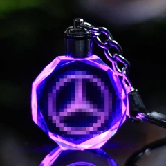 Famous or Custom Car Logo Crystal Crafts Changing Colorful LED Light Engraved DIY Car Key Chain 1 one size