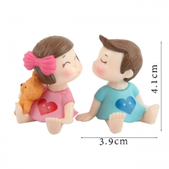 1set Sweety Lovers Couple Chair Figurines Miniatures Fairy Garden Gnome Moss  Crafts Home Decoration 1 one size
