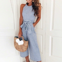 Elegant Sexy Jumpsuits Women Sleeveless Striped Jumpsuit Loose Trousers Wide Leg Pants Rompers blue S