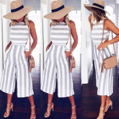 Women's Sleeveless Striped Jumpsuit Casual Loose Trousers Fashionable Leotard Catsuit Combinaison white s