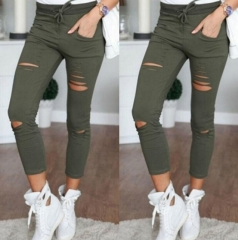 Skinny Jeans Women Denim Pants Holes Destroyed Knee Casual Trousers Black White Stretch Ripped Jeans green s