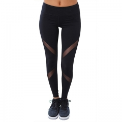 Sexy Women Leggings Gothic Insert Mesh Design Trousers Pants Big Size Black Capris Sportswear black s
