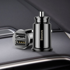 Mini USB Car Charger For Mobile Phone Tablet Fast Charger Car-Charger Dual USB Car Charger Adapter black YU44
