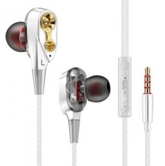 Double Unit Drive In Ear Earphone Bass Subwoofer Earphone for phone DJ mp3 Sport Headset Earbud white