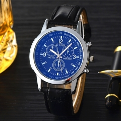 The new fashion men watch blue glass leather watch male male gifts fashion men's watch black black