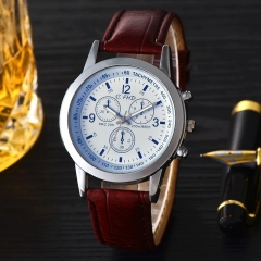 The new fashion men watch blue glass leather watch male male gifts fashion men's watch black brown
