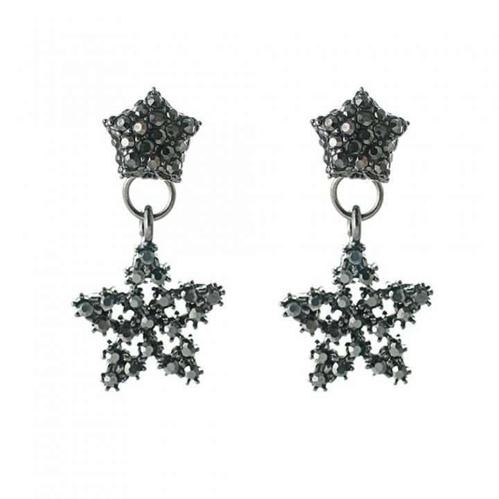 Han edition personality alloy diamond stud earrings pink star earrings female stud earrings black one size